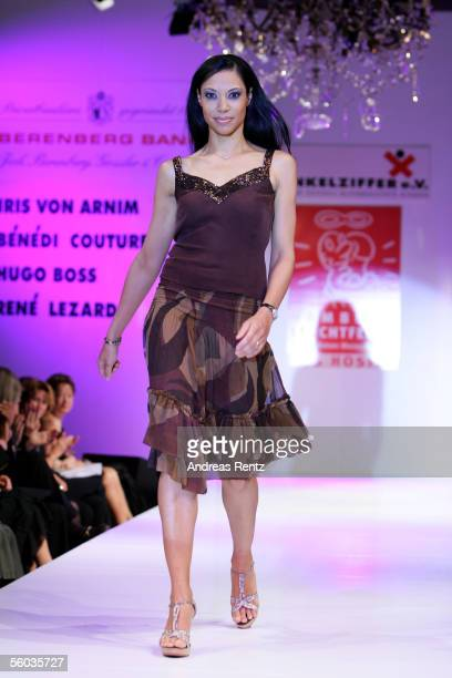 Actress Chantal de Freitas poses on the catwalk during the fashion charity Gala Event Prominent at the Atlantic Hotel on October 30 2005 in Hamburg...