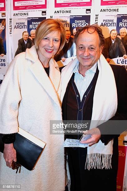 Actress Chantal Ladesou and her husband Michel Ansault attend the L'Etre ou pas Theater play at Theatre Antoine on March 21 2016 in Paris France