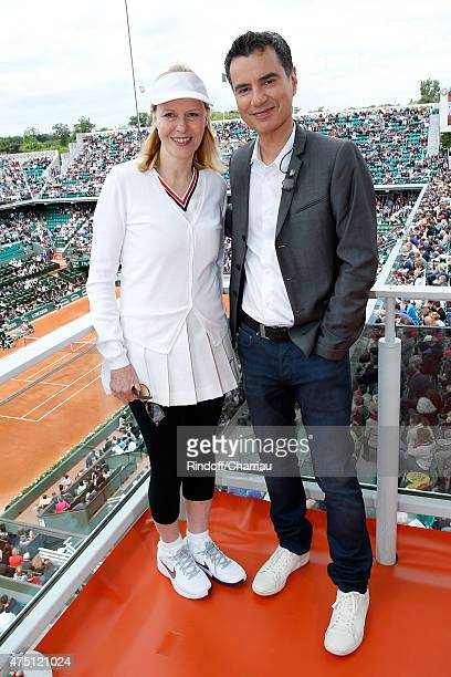 Actress Chantal Ladesou and Sports journalist Laurent Luyat poses at France Television french chanel studio during the 2015 Roland Garros French...