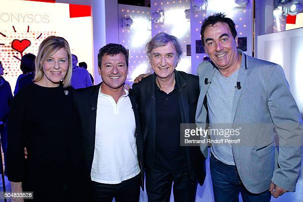 Actress Chantal Ladesou Cartoonist Plantu Mains Guests of the show Humorists 'Les Chevaliers du fiel' Francis Ginibre and Eric Carriere attend the...