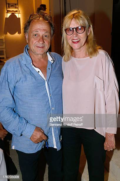 Actress Chantal Ladesou with her husband Michel Ansault attend Le Roi se meurt on the last day of the 29th Ramatuelle Festival on August 11 2013 in...