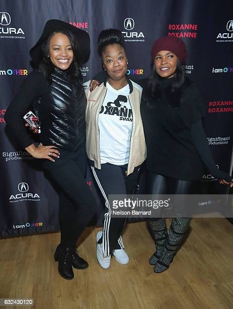 """Actress Chante Adams, Roxanne Shante and actress Nia Long attend the """"Roxanne, Roxanne"""" party at the Acura Studio during Sundance Film Festival 2017..."""