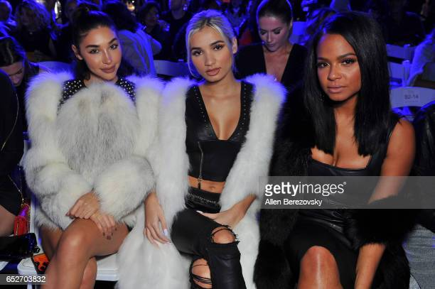 Actress Chantel Jeffries singer Pia Mia and singer Christina Milian attend the debut of Thomas Wylde's 'Warrior II' collection at Pacific Design...