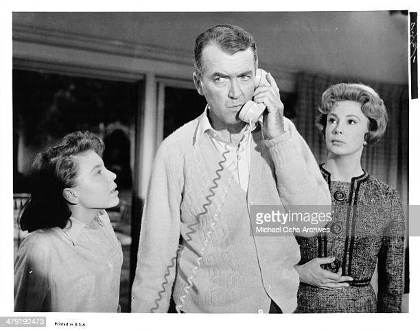 Actress Charla Doherty actor James Stewart and actress Audrey Meadows in a scene from the movie 'Take Her She's Mine' circa 1963