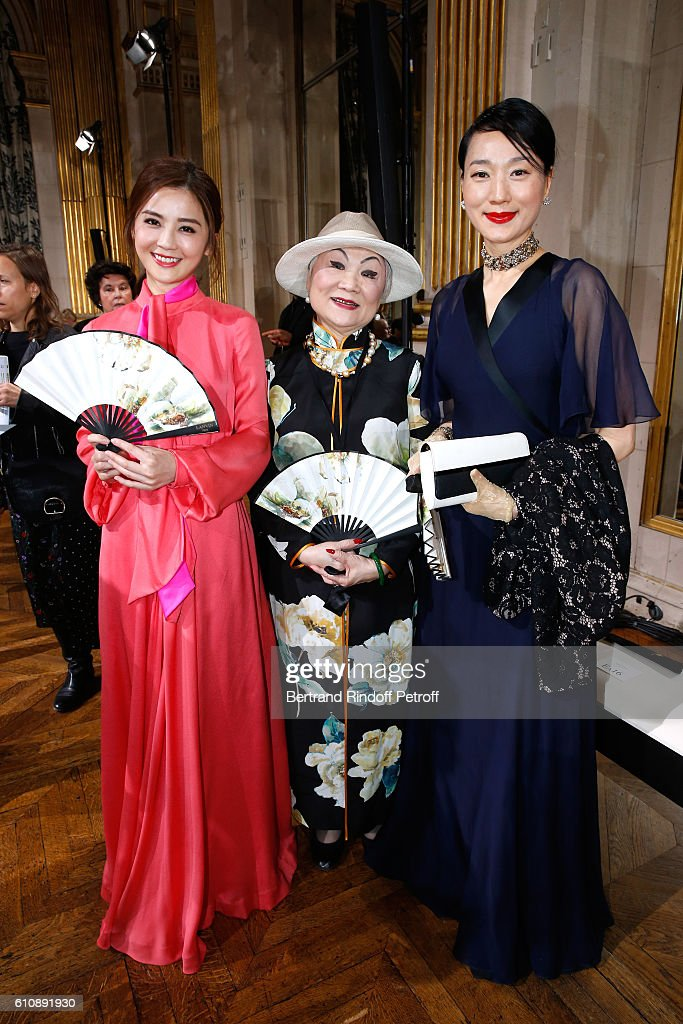 Actress Charlene Choi, Owner of Lanvin Shaw Lan Wang and Guest attend the Lanvin show as part of the Paris Fashion Week Womenswear Spring/Summer 2017. Held at Paris City Hall on September 28, 2016 in Paris, France.