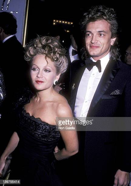 Actress Charlene Tilton and husband Domenick Allen attend the 30th Annual Thalians Ball on October 12 1985 at Century Plaza Hotel in Los Angeles...