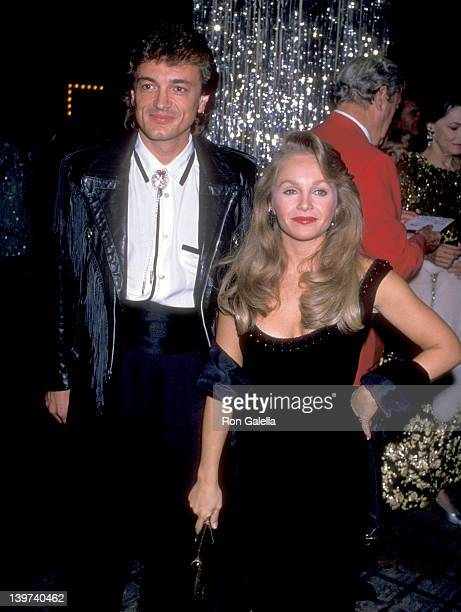 Actress Charlene Tilton and husband Domenick Allen attend the 34th Annual Thalians Ball on October 28 1989 at Century Plaza Hotel in Los Angeles...
