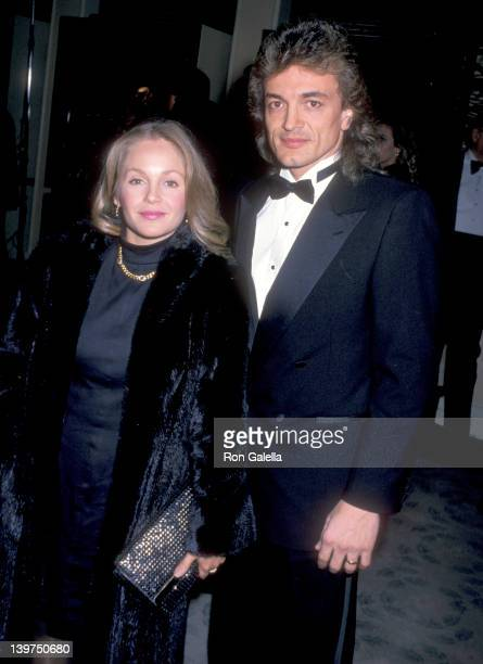 Actress Charlene Tilton and husband Domenick Allen attend the Sixth Annual American Cinema Awards on January 6 1989 at Beverly Hilton Hotel in...