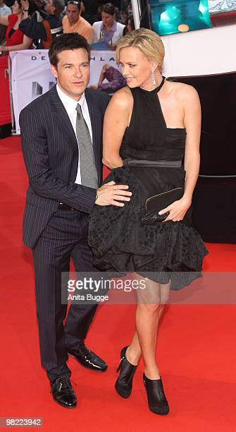 Actress Charlize Theron and actor Jason Bateman attend the Germany premiere of their latest movie Hancock on June 17 2008 in Berlin Germany
