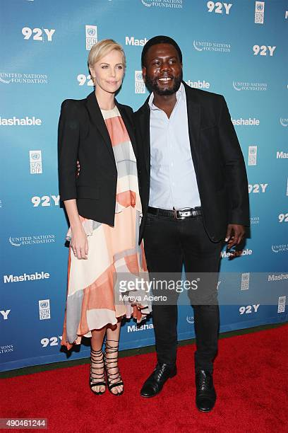Actress Charlize Theron and Cofounder at Africa Rising Foundation Kweku Mandela attend the 2015 Social Good Summit at 92Y on September 28 2015 in New...