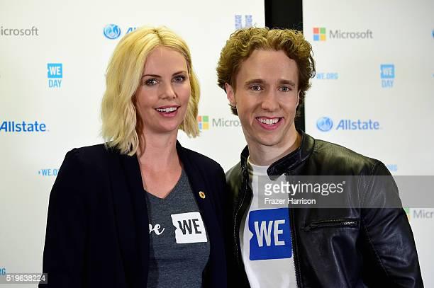 Actress Charlize Theron and CoFounder WE Day Free The Children and ME to WE Craig Kielburger speak in the press room at WE Day California 2016 at The...