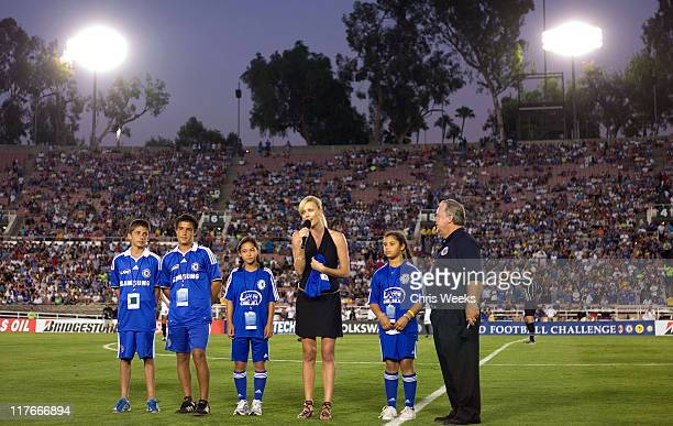 Actress Charlize Theron and Don Sheppard of LAFC Chelsea attend Chelsea FC and InterMilan soccer match benefitting LAFC Chelsea and Africa Outreach...