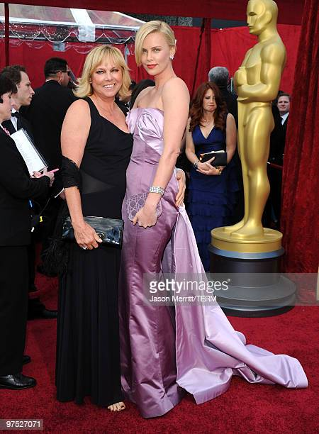 Actress Charlize Theron and her mother Gerda Theron arrives at the 82nd Annual Academy Awards held at Kodak Theatre on March 7 2010 in Hollywood...