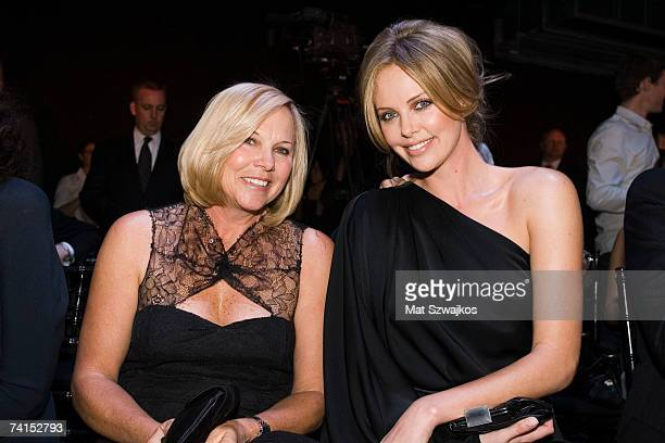 Actress Charlize Theron and her mother Gerda Theron attend the Dior 2008 Cruise collection fashion show on May 14 2007 in New York City