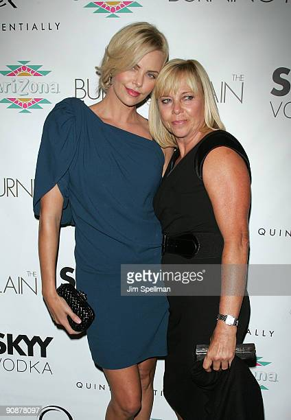 Actress Charlize Theron and her mother Gerda Theron attend the premiere of The Burning Plain at Landmark's Sunshine Cinema on September 16 2009 in...