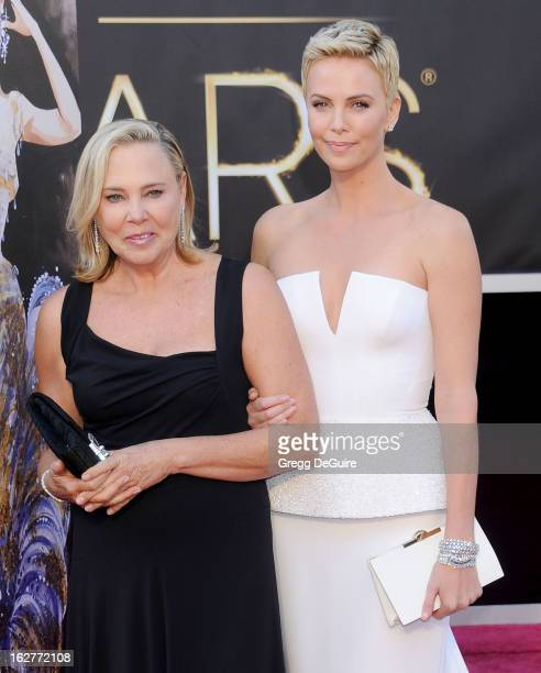 Actress Charlize Theron and mom Gerda arrive at the Oscars at Hollywood Highland Center on February 24 2013 in Hollywood California