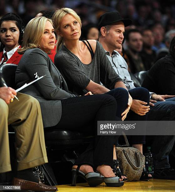 Actress Charlize Theron and mother Gerda at Staples Center on April 17 2012 in Los Angeles California NOTE TO USER User expressly acknowledges and...