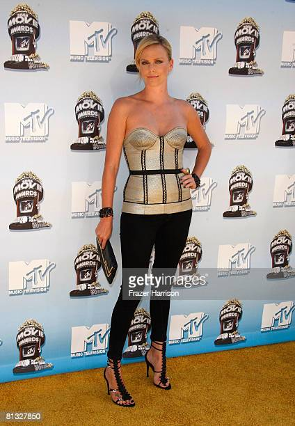 Actress Charlize Theron arrives at the 17th annual MTV Movie Awards held at the Gibson Amphitheatre on June 1 2008 in Universal City California