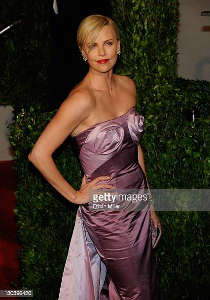 Actress Charlize Theron arrives at the 2010 Vanity Fair Oscar Party hosted by Graydon Carter held at Sunset Tower on March 7 2010 in West Hollywood...