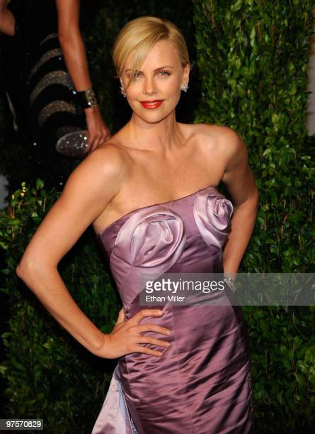 Actress Charlize Theron arrives at the 2010 Vanity Fair Oscar Party hosted by Graydon Carter held at Sunset Tower on March 7, 2010 in West Hollywood,...