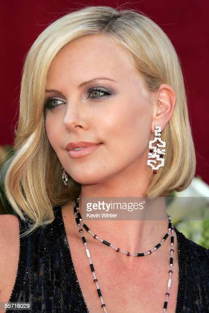 Actress Charlize Theron arrives at the 57th Annual Emmy Awards held at the Shrine Auditorium on September 18, 2005 in Los Angeles, California.