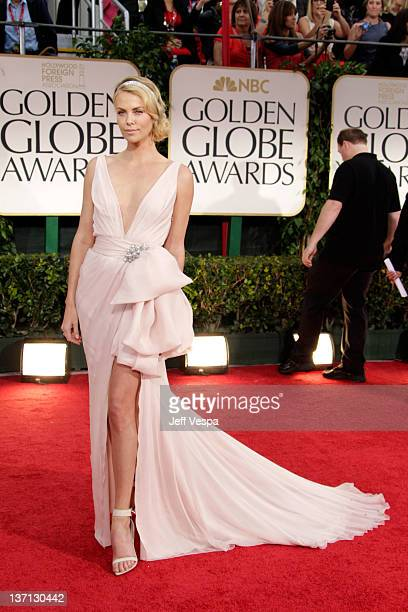 Actress Charlize Theron arrives at the 69th Annual Golden Globe Awards held at the Beverly Hilton Hotel on January 15, 2012 in Beverly Hills,...
