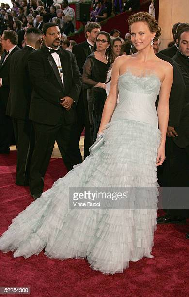 Actress Charlize Theron arrives at the 77th Annual Academy Awards at the Kodak Theater on February 27 2005 in Hollywood California