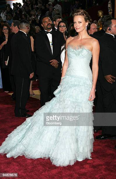 Actress Charlize Theron arrives at the 77th annual Academy Awards in Los Angeles California on Sunday February 27 2005