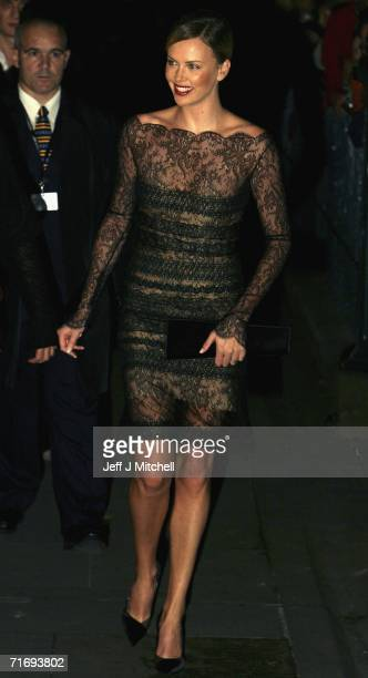 Actress Charlize Theron arrives at the Edinburgh International Film Festival 60th party at the National Gallery on August 19 in Edinburgh Scotland