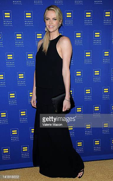 Actress Charlize Theron arrives at The Human Rights Campaign Los Angeles Gala on March 17 2012 in Los Angeles California