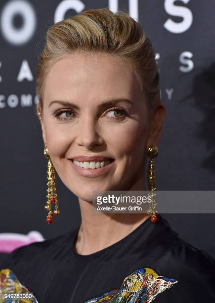 Actress Charlize Theron arrives at the Los Angeles premiere of Focus Features' 'Tully' at Regal LA Live Stadium 14 on April 18 2018 in Los Angeles...