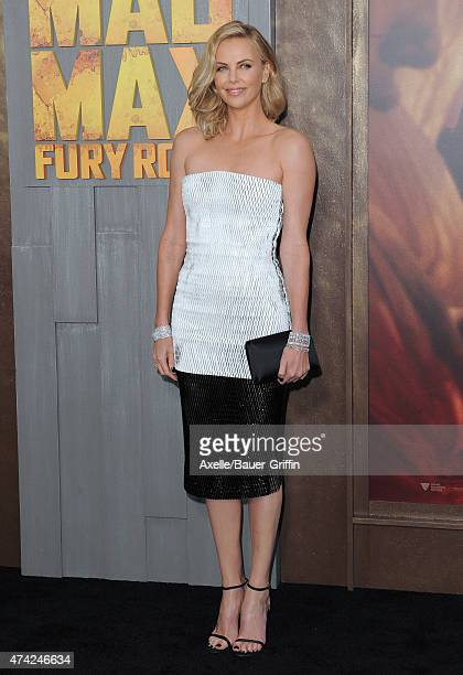 Actress Charlize Theron arrives at the Los Angeles premiere of 'Mad Max Fury Road' at TCL Chinese Theatre IMAX on May 7 2015 in Hollywood California