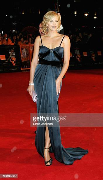 Actress Charlize Theron arrives at The Orange British Academy Film Awards at the Odeon Leicester Square on February 19 2006 in London England