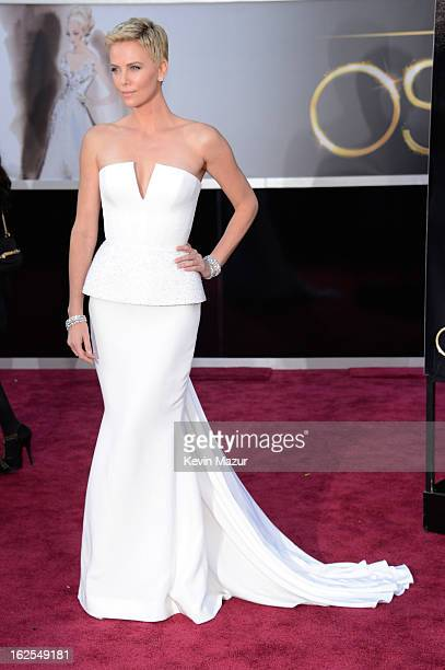 Actress Charlize Theron arrives at the Oscars at Hollywood Highland Center on February 24 2013 in Hollywood California