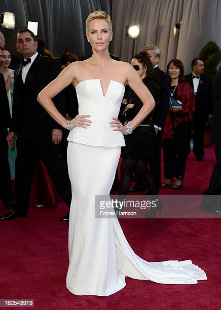 Actress Charlize Theron arrives at the Oscars held at Hollywood & Highland Center on February 24, 2013 in Hollywood, California.