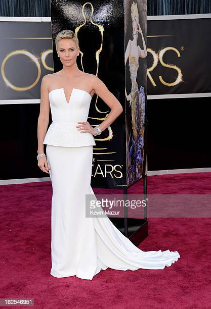 Actress Charlize Theron arrives at the Oscars held at Hollywood Highland Center on February 24 2013 in Hollywood California