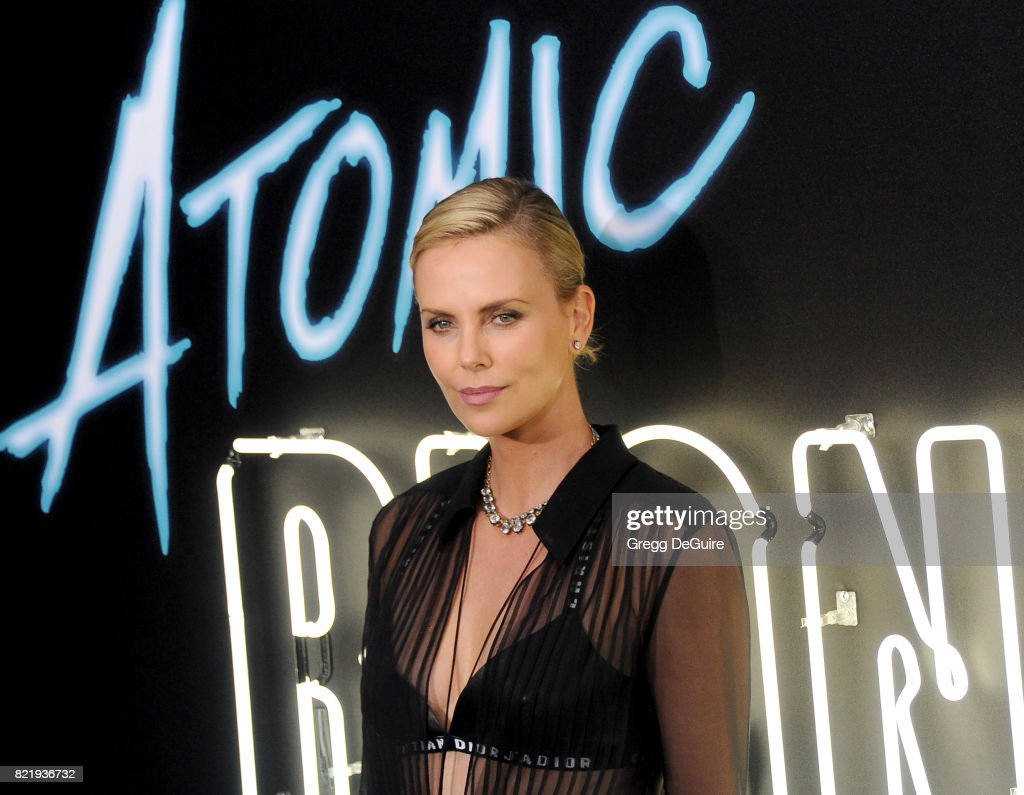 Actress Charlize Theron arrives at the premiere of Focus Features' 'Atomic Blonde' at The Theatre at Ace Hotel on July 24, 2017 in Los Angeles, California.