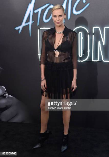 Actress Charlize Theron arrives at the premiere of Focus Features' 'Atomic Blonde' at The Theatre at Ace Hotel on July 24 2017 in Los Angeles...