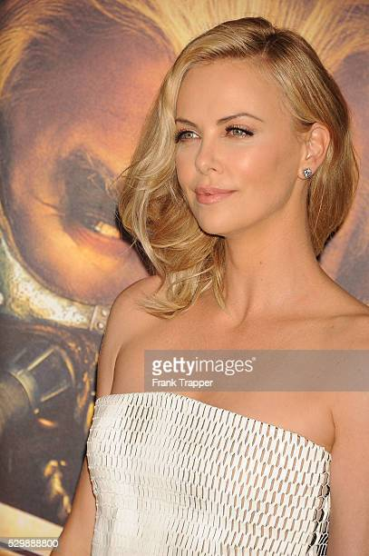 """Actress Charlize Theron arrives at the premiere of """"Mad Max: Fury Road"""" held at the TCL Chinese Theater in Hollywood."""