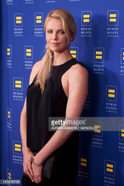 Actress Charlize Theron arrives to the 2012 Human Rights Campaign Los Angeles Gala at the JW Marriott LA Live in Los Angeles California on March 17...
