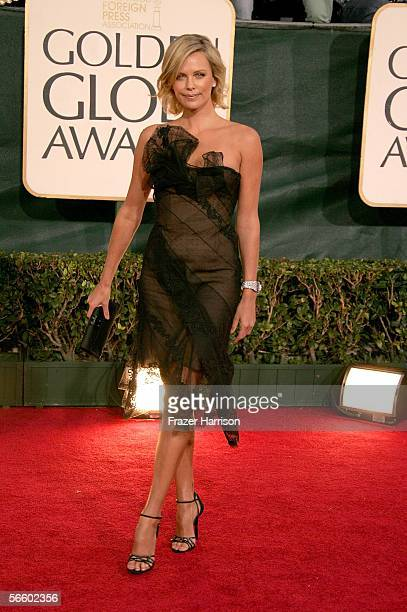 Actress Charlize Theron arrives to the 63rd Annual Golden Globe Awards at the Beverly Hilton on January 16 2006 in Beverly Hills California