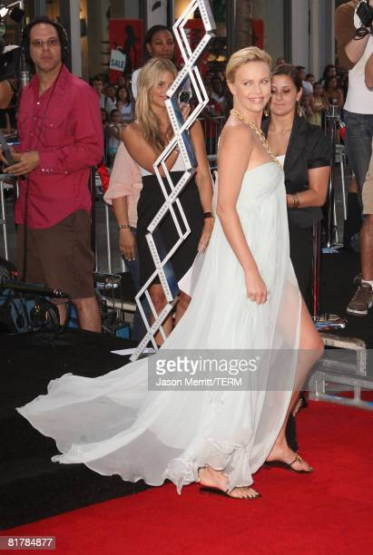 Actress Charlize Theron arrives to the Premiere of Sony Pictures' 'Hancock' at Grauman's Chinese Theatre on June 30 2008 in Hollywood California