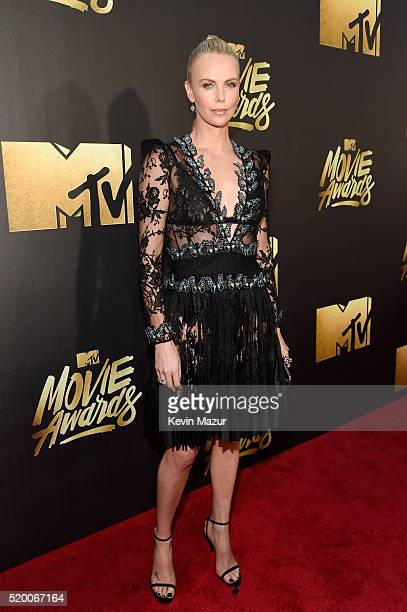 Actress Charlize Theron attends the 2016 MTV Movie Awards at Warner Bros Studios on April 9 2016 in Burbank California MTV Movie Awards airs April 10...