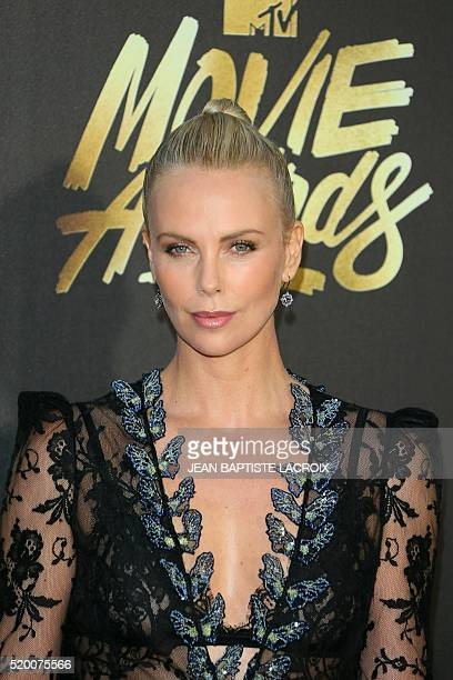 Actress Charlize Theron attends the 2016 MTV Movie Awards in Burbank California on April 9 2016 LACROIX