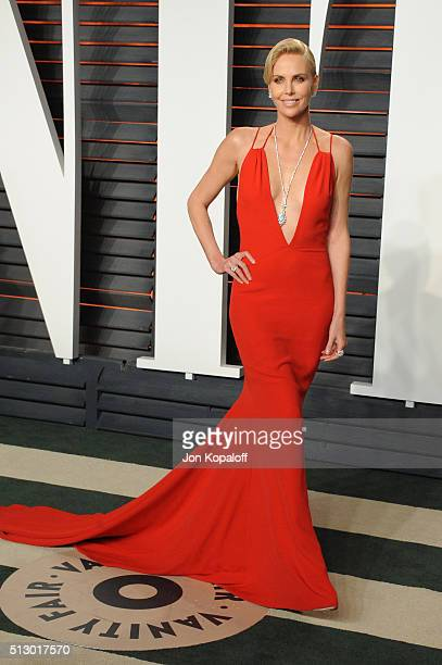 Actress Charlize Theron attends the 2016 Vanity Fair Oscar Party hosted By Graydon Carter at Wallis Annenberg Center for the Performing Arts on...