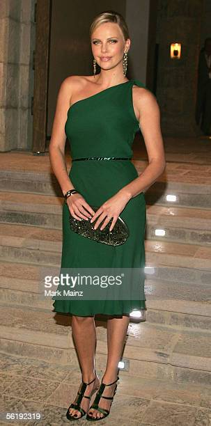 "Actress Charlize Theron attends the ""Gucci Spring 2006 Fashion Show Benefitting The Childrens Action Network"" at Michael Chow's residence November..."