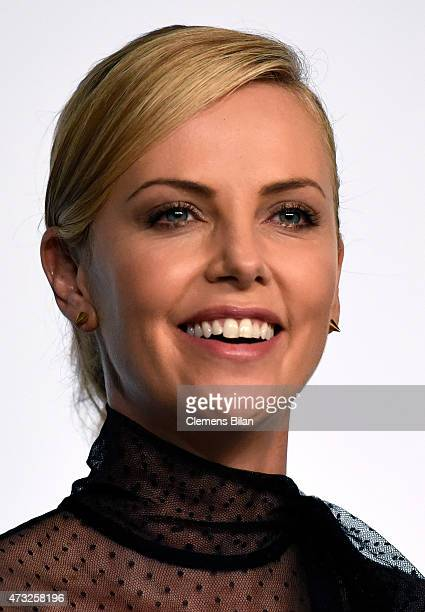 Actress Charlize Theron attends the Mad Max Fury Road press Conference during the 68th annual Cannes Film Festival on May 14 2015 in Cannes France
