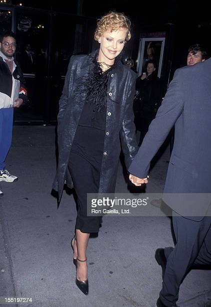 Actress Charlize Theron attends the 'Meet Joe Black' New York City Premiere on November 2 1998 at Ziegfeld Theater in New York City