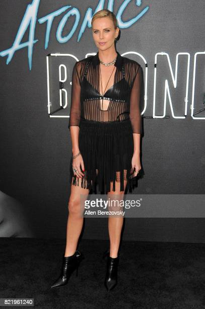 Actress Charlize Theron attends the premiere Of Focus Features' Atomic Blonde at The Theatre at Ace Hotel on July 24 2017 in Los Angeles California