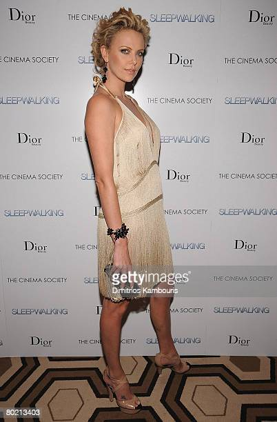 Actress Charlize Theron attends the premiere of Sleepwalking hosted by The Cinema Society and Dior Beauty at the Tribeca Grand Screening Room on...